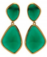 MONICA VINADER GOLD-PLATED GREEN ONYX SIREN COCKTAIL EARRINGS. Statement jewelry | large drop earrings | stone jewellery | evening glamour | glamorous accessories