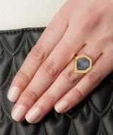 MONICA VINADER GOLD-PLATED PETRA LABRADORITE COCKTAIL RING. semi-precious gemstone rings | modern style jewellery | contemporary jewelry | gemstones