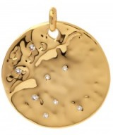 MONICA VINADER GOLD-PLATED WHITE TOPAZ SIREN SCATTER PENDANT. Round disc pendants | contemporary jewellery | luxe style accessories