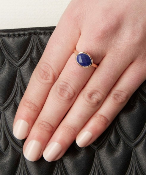 MONICA VINADER ROSE GOLD-PLATED LAPIS CANDY RING. Blue