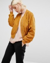Monki Sateen Bomber Jacket mustard. Dark yellow jackets | casual fashion | on-trend outerwear