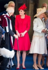 The Duchess of Cambridge elegant in Catherine Walker ~ Kate Middleton's style ~ royal outfits ~ dress coats ~ red dresses ~ Kate's hats