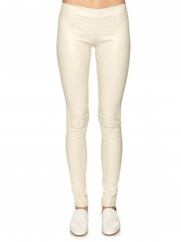 THE ROW Moto stretch-leather leggings white. Skinny pants   Olsen twins clothing brand   luxury casual fashion   designer trousers - flipped