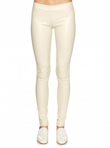 THE ROW Moto stretch-leather leggings white. Skinny pants   Olsen twins clothing brand   luxury casual fashion   designer trousers