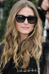 Olivia Palermo long wavy dark blonde hair. Celebrity hairstyles ~ star style ~ celebrities wearing large sunglasses