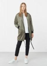 mango oversized bomber in medium green. Long jackets | casual on-trend fashion