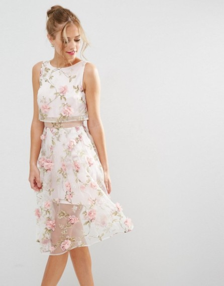 ASOS SALON 3D Floral Pink Crop Top Midi Dress ~ luxe style fabric ...