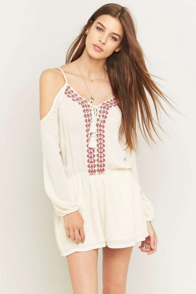 5e8c61a4326 Pins   Needles Embroidered Cold Shoulder Playsuit ~ boho style ivory  playsuits