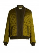 MAISON MARGIELA Quilted satin bomber jacket olive green. Casual luxe | designer jackets | autumn / winter clothing | luxury outerwear