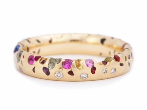 Multi Coloured Gem Ring With Gold Band
