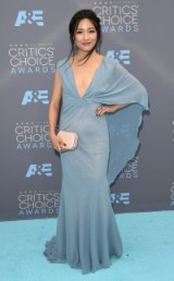 American actress Constance Wu ~ women with style ~ stylish actresses ~ deep plunge gowns ~ celebrity fashion
