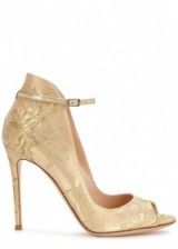 GIANVITO ROSSI Rioko gold leather and lace pumps, luxe high heels, designer shoes, peep toe, luxury fashion
