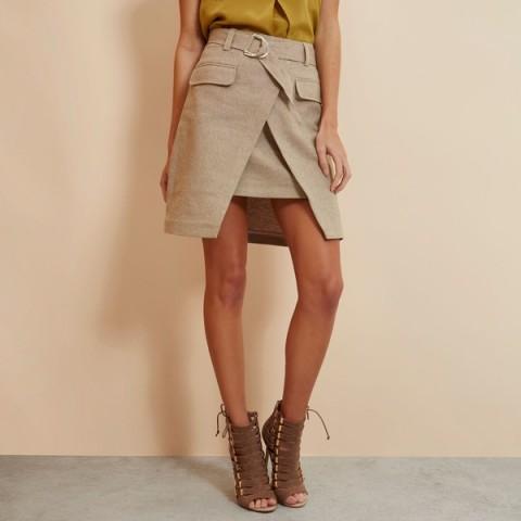 River Island Ri Studio Wrap D-ring Mini Skirt Womens Beige ~ asymmetric hem ~ stylish skirts with front pockets