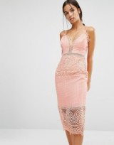 River Island Lace Detail Bodycon Dress, pink fitted dresses, thin straps, glamorous, feminine, evening fashion