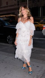 Sarah Jessica Parker arrives for the ACE Awards celebration in NYC, wearing a white cold shoulder dress with layered lace frills and a pair of turquoise-blue strappy sandals, August 2016 ~ SJP style ~ celebrity ruffled dresses ~ fashion ~ occasion outfits