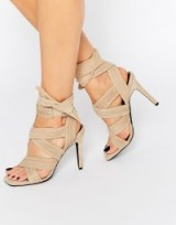 Senso Samantha Sand Suede Bow Heeled Sandals, wrap style high heels, strappy, glamorous shoes, ankle ties