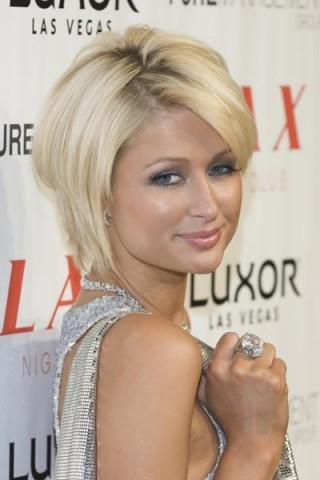 Paris Hilton's hair styled in a voluminous blonde layered bob
