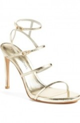 Stuart Weitzman Courtesan Sandal, metallic high heels, glamorous strappy style shoes, evening glamour, party feet, ankle strap sandals, going out ankle straps