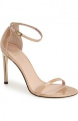 Stuart Weitzman Nudistsong Ankle Strap Sandal, barely there high heels, nude tone shoes, patent leather, glamorous ankle straps, ankle strap glamour