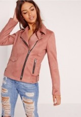 missguided suedette bonded biker jacket pink ~ faux suede jackets ~ affordable luxe