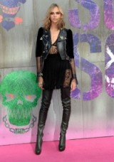 Cara Delevingne rocks a black leather and lace outfit at the Suicide Squad London premiere ~ celebrity fashion ~ celebrities at film premieres