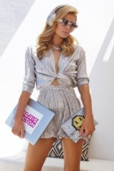 Paris Hilton glamour – silver metallic outfits – rich & famous – glamorous celebrity style fashion