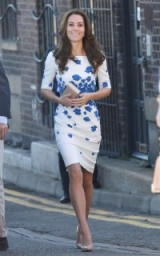 The Duchess of Cambridge visited Luton wearing a white short sleeved fitted L.K Bennett dress, which was scattered with blue flowers, paired with nude accessories and drop earrings ~ Kate Middleton style ~ Catherine Middleton's dresses ~ royal fashion ~ celebrity outfits
