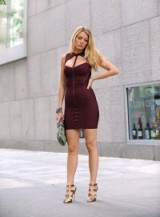 Serena van der Woodsen style burgundy cut out bandage dress & gold strappy sandals ~ gossip girl dresses ~ Serena van der Woodsen's outfits