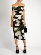 DOLCE & GABBANA Tulip-print off-the-shoulder dress ~ bardot floral printed dresses ~ designer fashion ~ chic style
