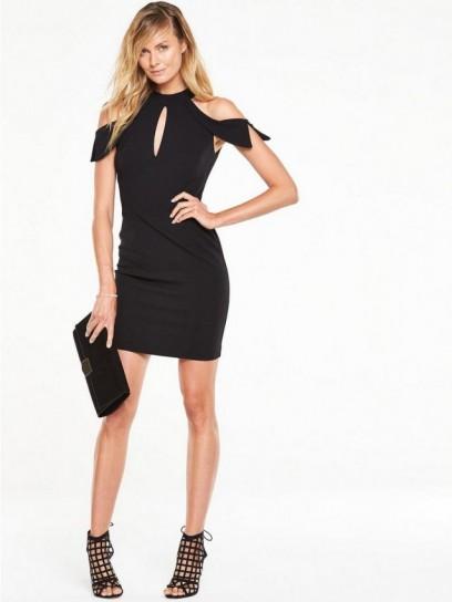 Black dress very - V By Very Cold Shoulder Mini Pencil Dress Little Black Dress Lbd Open