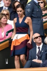 Victoria Beckham style wearing a colour-block sundress from her own collection