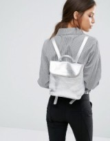 Whistles Mini Verity Leather Backpack in Silver – small metallic backpacks – luxe accessories – luxury style bags