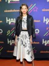 Zendaya style ~ outfits ~ fashion ~ celebrities wearing black leather jackets ~ printed skirt sets