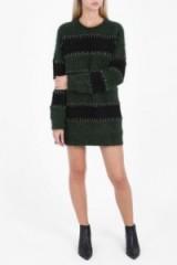 ALEXANDER WANG Mohair Green & Black Stripe Rugby Sweater Dress. Knitted fashion | designer knitwear | autumn/winter fashion | long sleeve crew neck jumper dresses