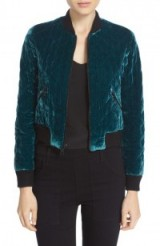 Alice + Olivia 'Demia' Quilted Velvet Crop Bomber Jacket dark turquoise. Sports luxe jackets | casual designer outerwear | autumn/winter fashion 2016-2017 | jewel tones | on trend clothing | trending now
