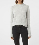 AllSaints Alpha grey crew neck jumper in mist marl. Womens quality round neckline jumpers | casual luxe | knitwear | knitted sweaters