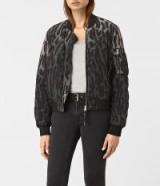 AllSaints Sinai grey silk leopard print bomber jacket. Womens casual jackets | autumn outerwear | on trend fashion | animal prints