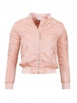 Amour London Pink Silky Bomber Jacket with ribbed trim. On trend jackets | casual fashion | cropped style | autumn outerwear | trending now