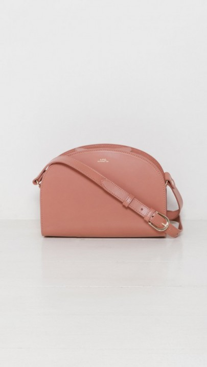 A.P.C. Sac Demi Lune warm blush. Luxe crossbody bags | pink leather handbags | designer accessories