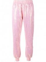 ASHISH bead embellished sequin track pants ~ pink sequins ~ sequined jogging bottoms ~ designer fashion
