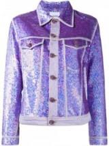ASHISH sequin denim jacket ~ purple sequins ~ sequined jackets ~ shimmering fashion