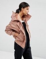 ASOS Bomber Jacket in Vintage MA1 Styling with Faux Fur Hood in mink. Casual jackets | Autumn/Winter outerwear | on-trend fashion