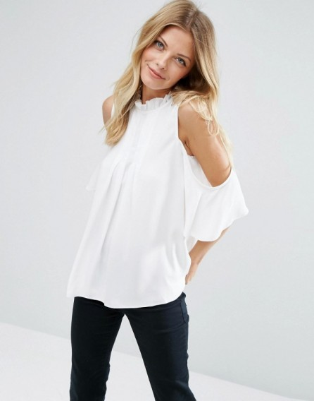cb1df0dcd4596d ASOS Cold Shoulder Blouse with High Neck   Pintuck Detail Ivory ~ open  shoulder tops ~