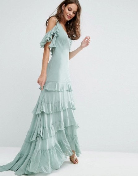 ASOS Ruffle Tiered Maxi Dress ~ long mint green dresses ~ ruffled ...