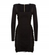 Balmain Black Lace Up Front Knit Dress ~ lbd ~ fitted fashion ~ designer occasion wear ~ mini dresses ~ ruched style