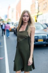 Fashion model Martha Hunt in a moss green 3.1 Phillip Lim Stapled Chest Panel silk dress at NYFW S/S 2017. If you love this dress, as I do, it's available to buy online from lanecrawford.com ~ khaki dresses ~ New York Fashion Week street style dresses ~ stylish women