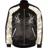 River Island Black satin embroidered reversible bomber. Womens casual jackets | on trend outerwear | perfect autumn street style | trending now | floral and bird embroidery