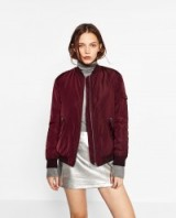 ZARA wine bomber jacket. Dark red casual jackets | Autumn/Winter fashion | on-trend outerwear | weekend style clothing