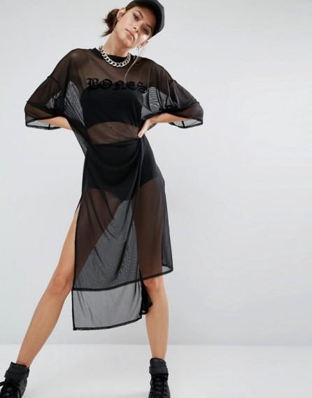 Bones Oversized Boxy Sheer Mesh T-Shirt Dress black ~ long see-thr ...