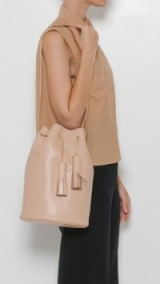 Building Block ~ Nude Bucket Bag in smooth leather – luxe shoulder bags – stylish handbags – drawstring with tassels